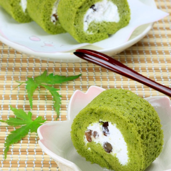 roll cake of the powdered green tea
