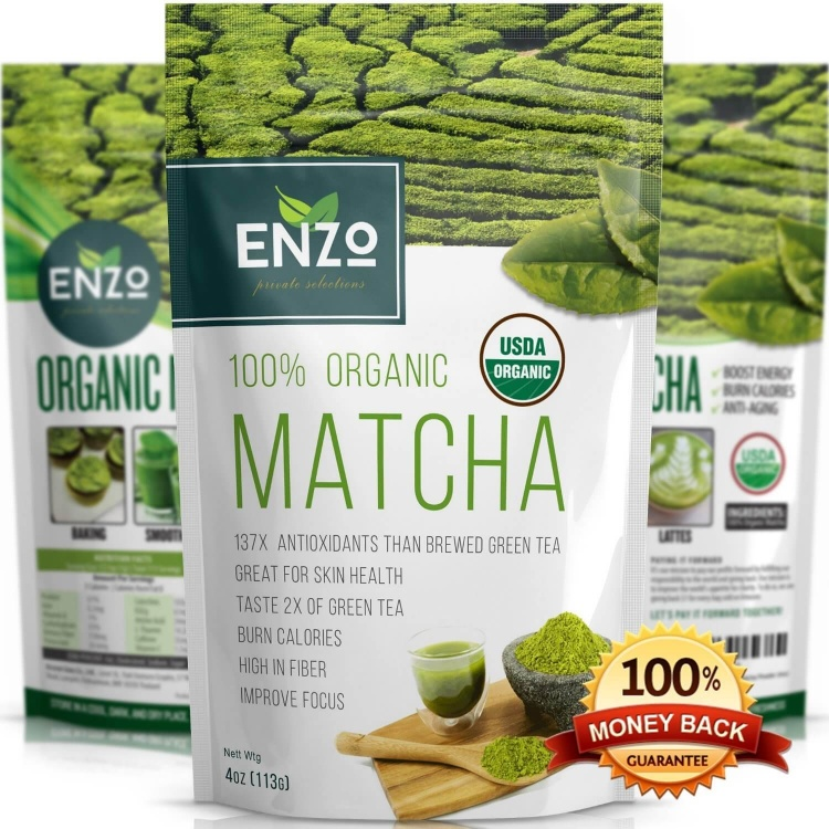 Organic Matcha Green Tea Powder by Enzo (4oz)
