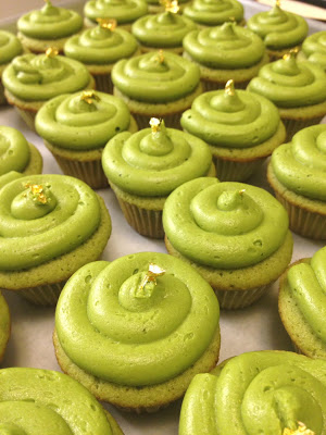 Matcha Green Tea Cupcakes with Matcha Green Tea Butter Frosting