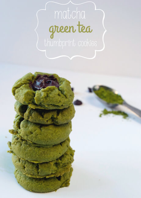 Paleo Matcha Green Tea Thumbprint Cookies