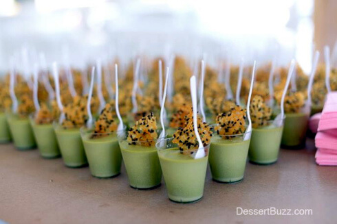 Matcha Pot De Creme with Black Sesame Glass